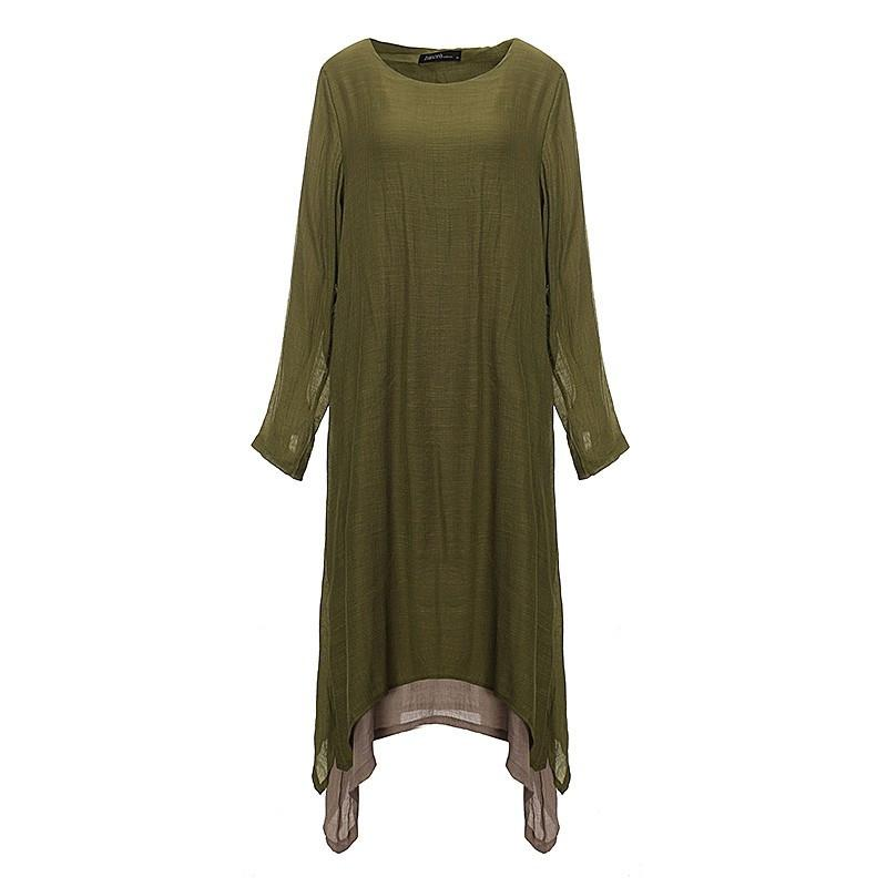 Spring Women Cotton Linen Vintage Dress Ladies O Neck Full Sleeve Casual Loose Boho Long Maxi Dresses Vestidos Plus Size-Dress-SheSimplyShops