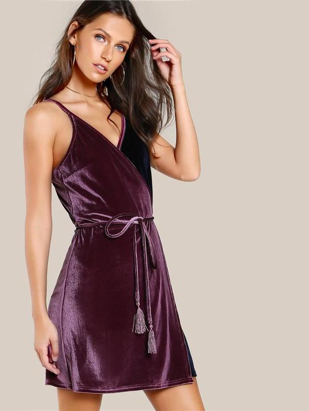 Self Belt Surplice Wrap Contrast Velvet Dress Color Block Spaghetti Strap V Neck A Line Dress Elegant Party Dress-Dress-SheSimplyShops