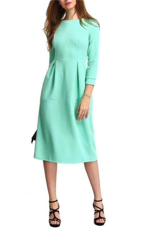 Green Three Quarter Length Sleeve Party Dresses A Line Midi Round Neck Dress Women Elegant Midi Dress-Dress-SheSimplyShops