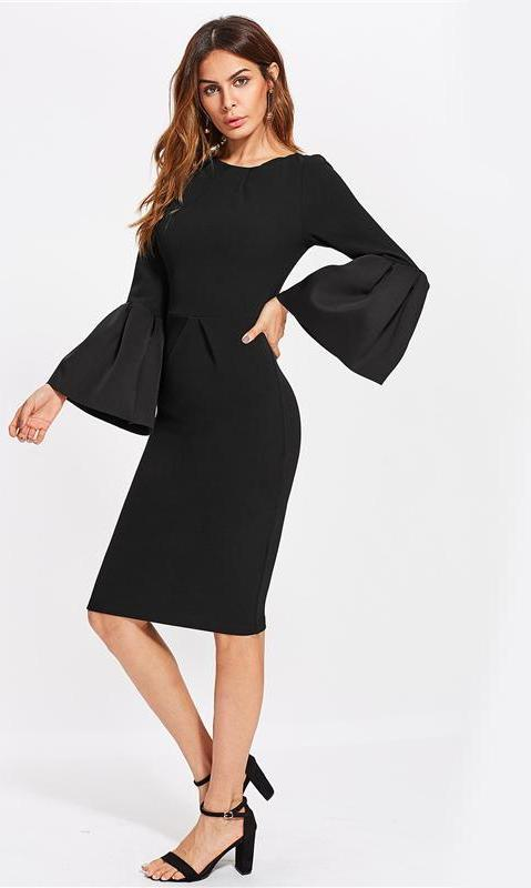 Black Party Dresses Flare Sleeve Dress With Zip Elegant Office Ladies Long Sleeve Midi Dress-Dress-SheSimplyShops