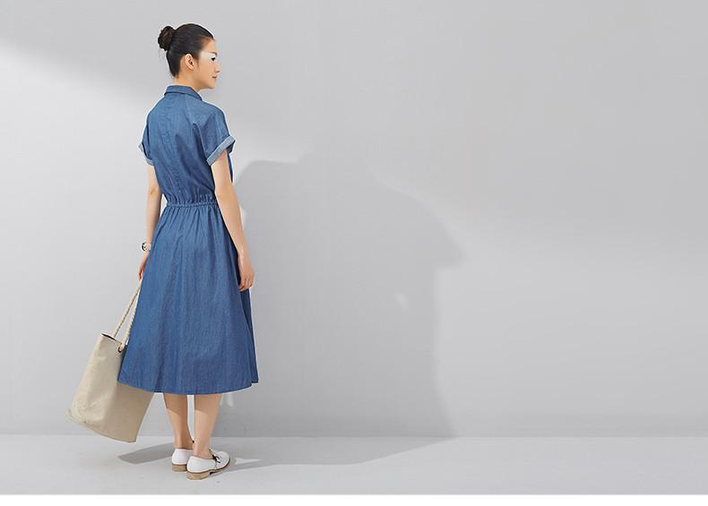 Toyouth Summer Dress New Casual Denim Straight Turn-down Collar Denim Jeans Long Women Dresses Vestido-Dress-SheSimplyShops