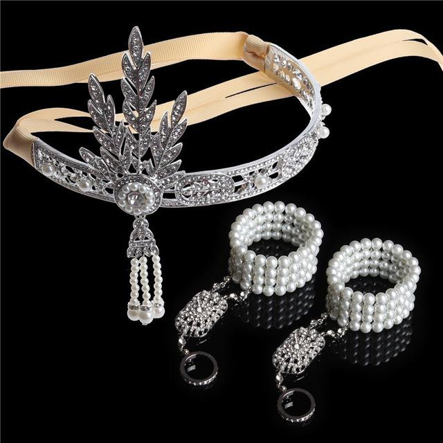 3PCS 1920s Vintage Great Gatsby Headband Hair Accessories Crystal Pearl Tassels Band Hair Jewelry Wedding Bridal Tiara Headpiece-JEWELRY-SheSimplyShops