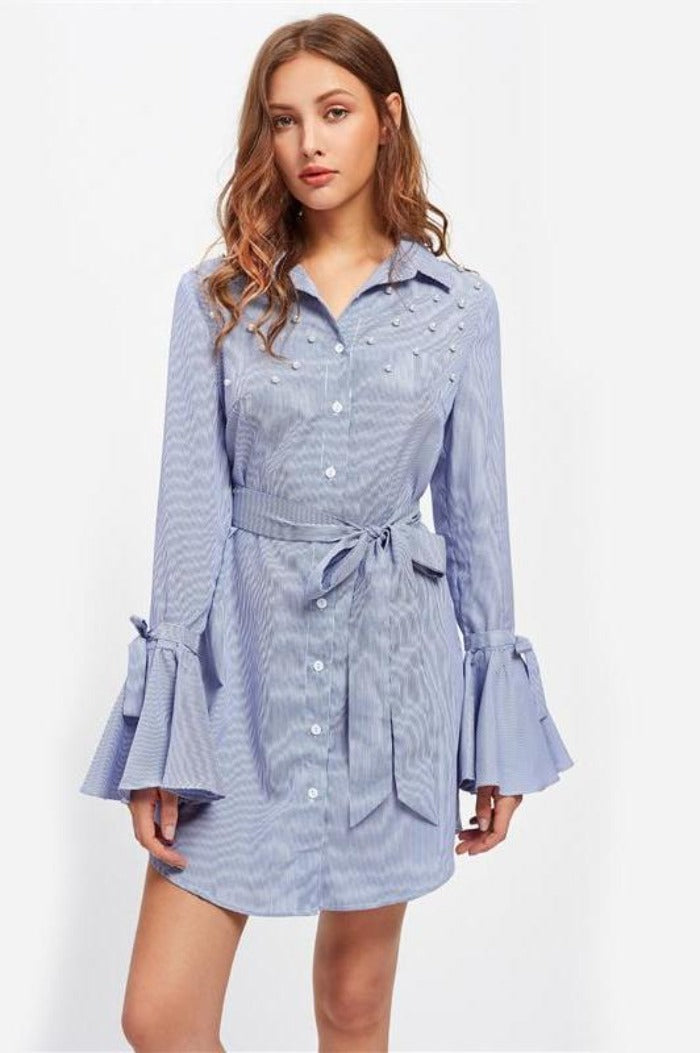 Pearl Beaded Belted Waist And Flare Sleeve Elegant Dress Ladies Blue Striped Long Sleeve Casual A Line Dress-Dress-SheSimplyShops