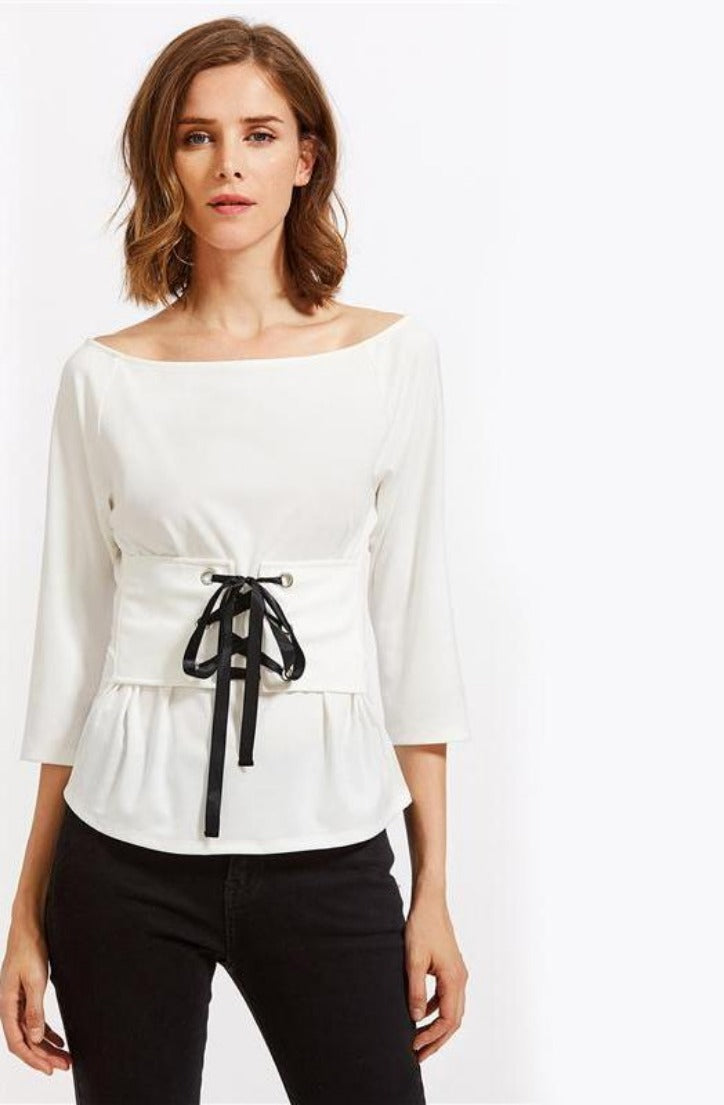 White Lace Up Corset Belt Blouse Ladies Boat Neck Sleeve Slim Blouse Elegant Work Wear Top-Blouse-SheSimplyShops