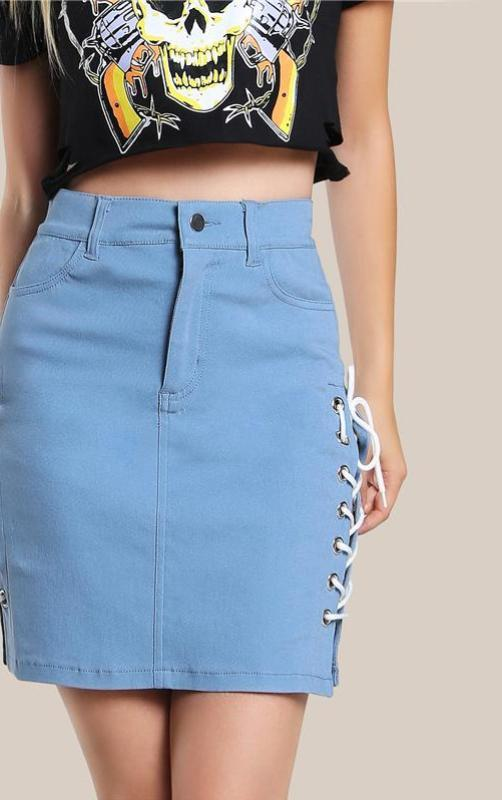 Blue High Waist Pencil Skirt Eyelet Lace Up Side Women Sexy Mini Skirts Fashion Vintage Casual Button Skirt-Dress-SheSimplyShops