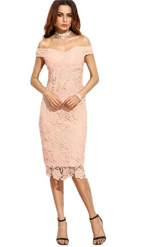 Female Pink Embroidered Lace Overlay Off The Shoulder New Fashion Short Sleeve V Neck Slim Pencil Midi Dress-Dress-SheSimplyShops