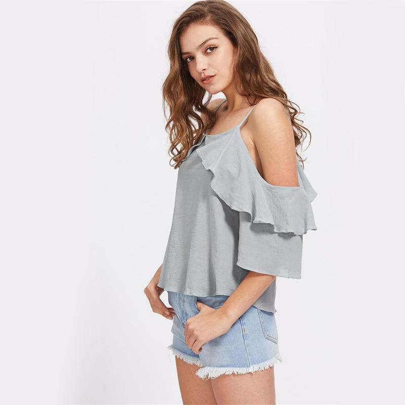 Cold Shoulder Slip Tops Ruffle Trim Sexy Blouse Blue Elegant Women Tops Half Sleeve Cute Tunic Blouse-Blouse-SheSimplyShops