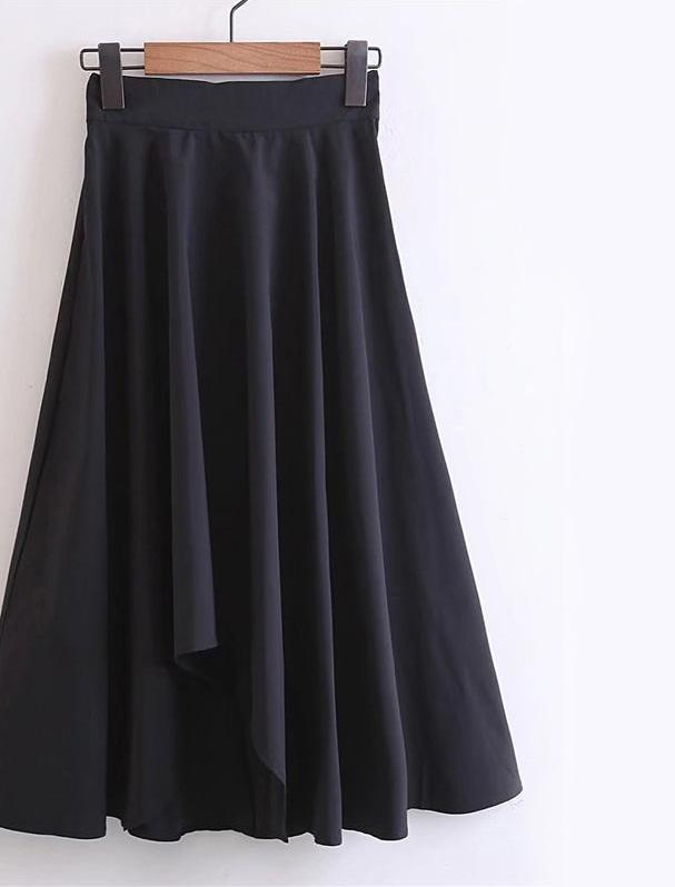 Asymmetrical Pleated Skirt Women Black Draped Casual Empire Skirts Spring Fashion Brief Elegant Party Skirt-Dress-SheSimplyShops