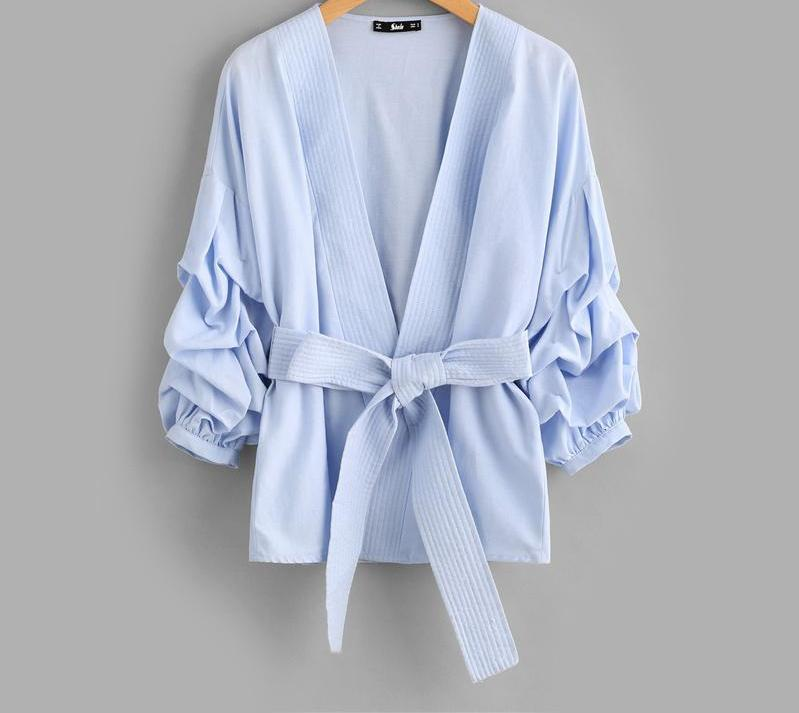 SHEIN Gathered Sleeve Stitch Detail Belted Blazer New Arrival 2017 Woman Autumn Blazer Blue Collarless Work Fitted Blazer-BELTS-SheSimplyShops