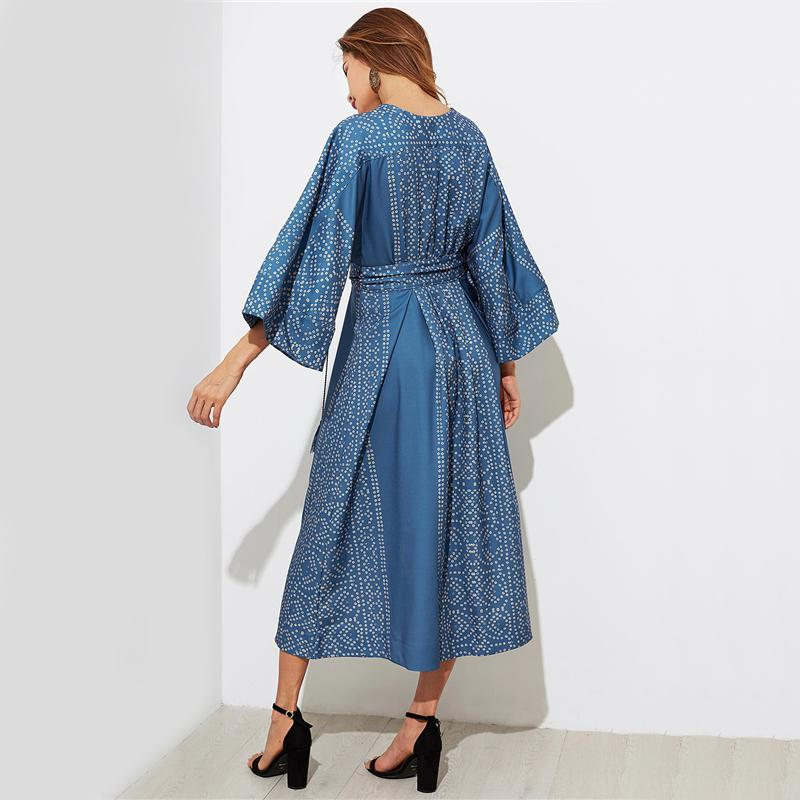 Plunging Kimono Sleeve Tassel Tie A Line Dress Navy Fall Dress Lace Up Deep V Neck Long Sleeve Sexy Dresses-Dress-SheSimplyShops