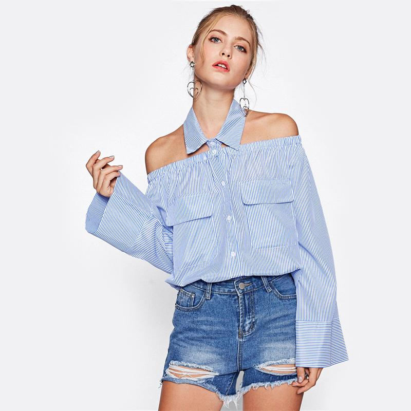 Collared Halter Kimono Sleeve Pinstripe Blouse Blue Striped Off the Shoulder Sexy Blouse Long Sleeve With Pocket Blouse-Blouse-SheSimplyShops