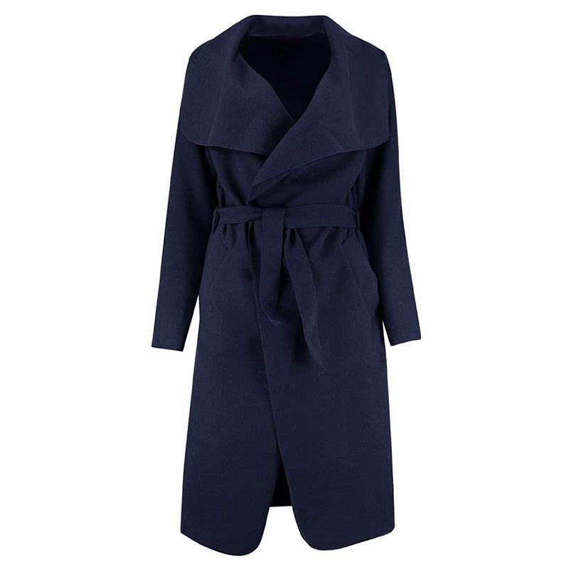 Winter Coat Women Wide Lapel Belt Pocket Wool Blend Coat Long Red Trench Coat Outwear Wool Coat Women-Coats & Jackets-SheSimplyShops
