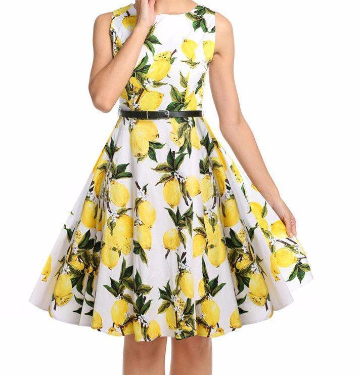 Summer Dress Vintage Women Sleeveless Print Sundress High Waist Slim Flower Party Swing Hem Pleated Dress With Belt-Dress-SheSimplyShops