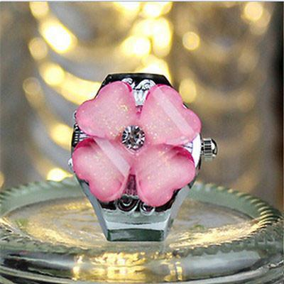 Practical Superior Four Clover Round Dial Finger Ring Quartz Watch For Lady-WATCHES-SheSimplyShops