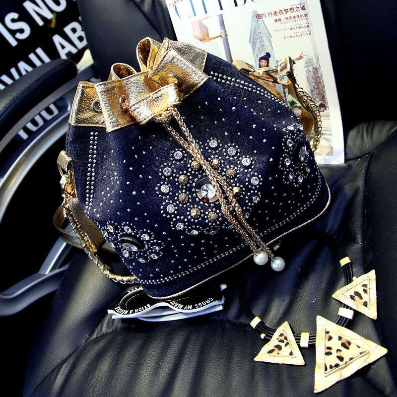 Casual Cross Chain Bucket Bag-BAGS-SheSimplyShops