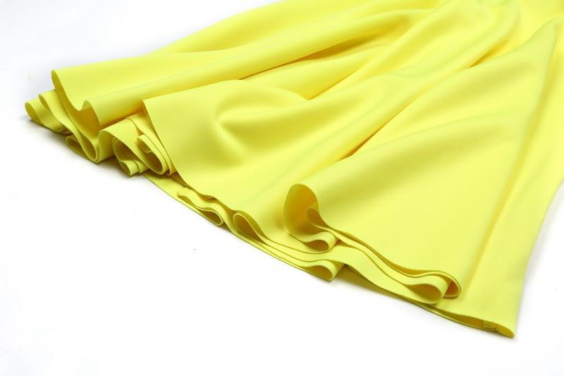 Knee length skirt Solid Yellow color High waist Pleated Spring Elegant Skirt Office wear-Dress-SheSimplyShops