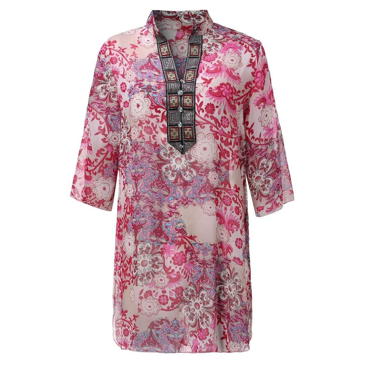 Summer Style Women Vintage Floral Print Blouse Dress Sexy Diamonds V neck 3/4 Sleeve See Through Loose Chiffon Shirt Plus Size-Dress-SheSimplyShops