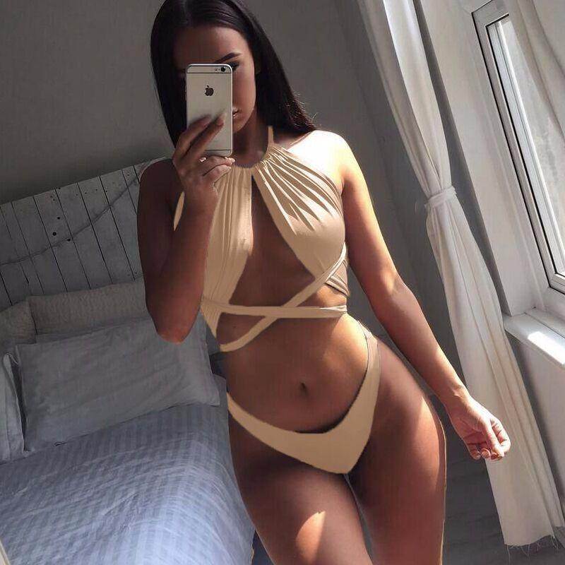 2 piece bodycon romper 4 colors sexy bandage crop top bathing pants solid women swimsuits-ROMPERS & JUMPSUITS-SheSimplyShops