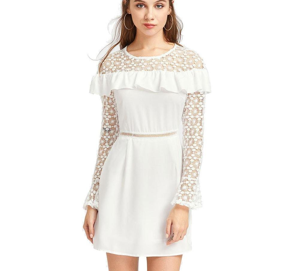Women Dresses Hollow Out Waist Dress Lace Long Sleeve Patchwork Ruffles Sexy Mini White Party Dresses-Dress-SheSimplyShops