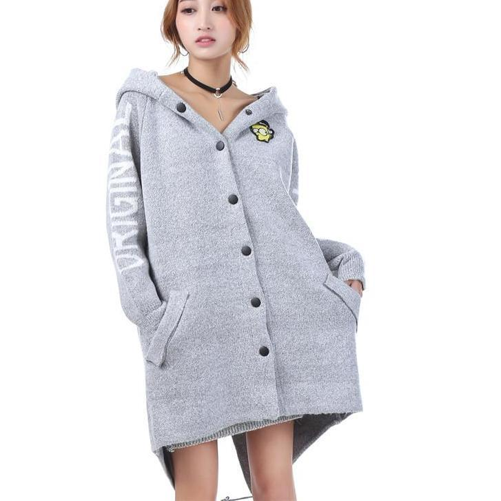 Autumn Winter Long Cardigan Sweaters Women Cartoon Hooded Sweater Coat Fall Warm Thick Poncho Jacket Jumper-Coats & Jackets-SheSimplyShops