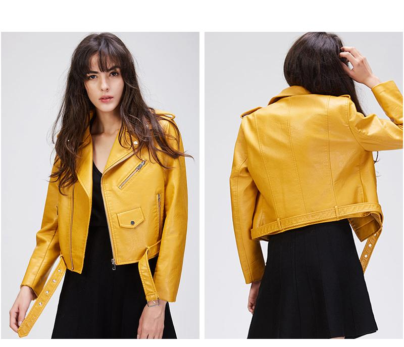 New Autumn Fashion Street Women's Short Washed PU Leather Jacket Zipper Bright Colors New Ladies Basic Jackets Good-Coats & Jackets-SheSimplyShops