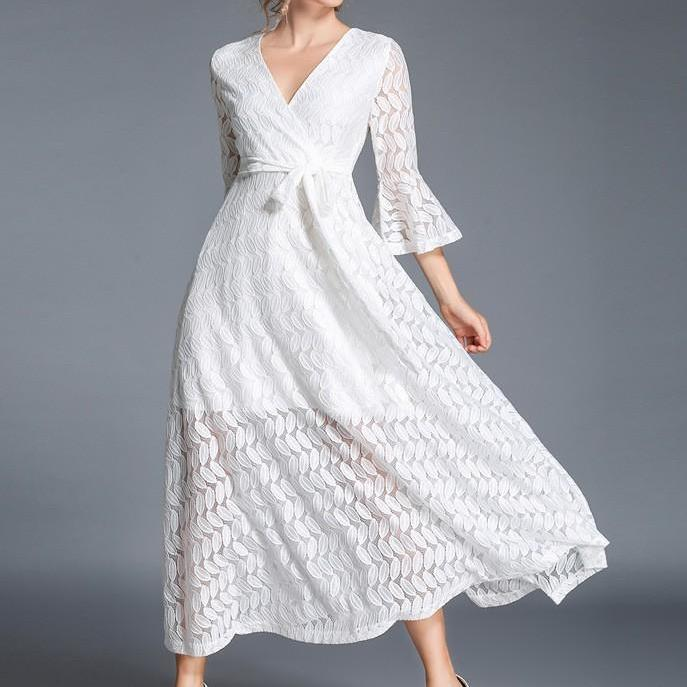 Autumn Slim V Neck Three Quater Sleeves High End Lace Solid Dress Long Section Big Swing Belted Robe-Dress-SheSimplyShops