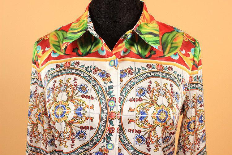 Bohemia Shirt Summer Spring New European Elegant Sicily Print Slim OL Women's Long-Sleeve Fashion Blouse-Blouse-SheSimplyShops