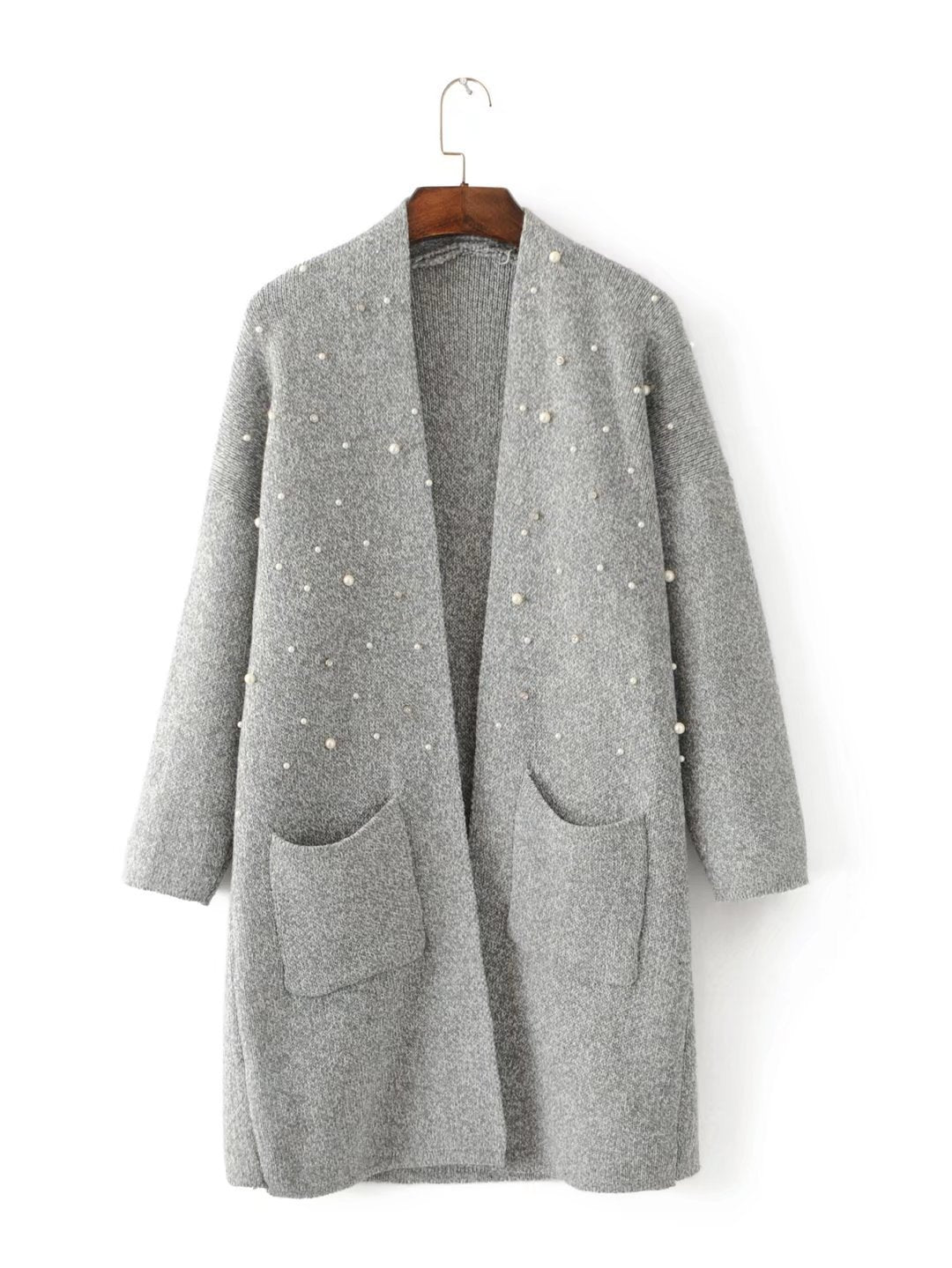 Pearl Decorated Long Cardigan Sweater-SWEATERS + CARDIGANS-SheSimplyShops