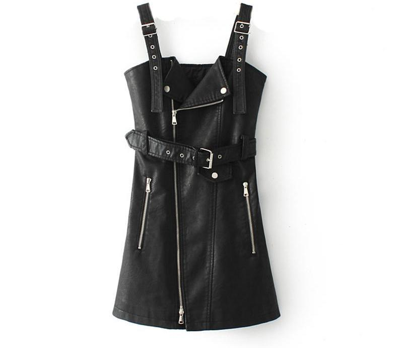 Autumn Winter Women Fashion PU Leather Dress Female Zipper Sashes Ladies biker Mini Sexy Dress-Dress-SheSimplyShops