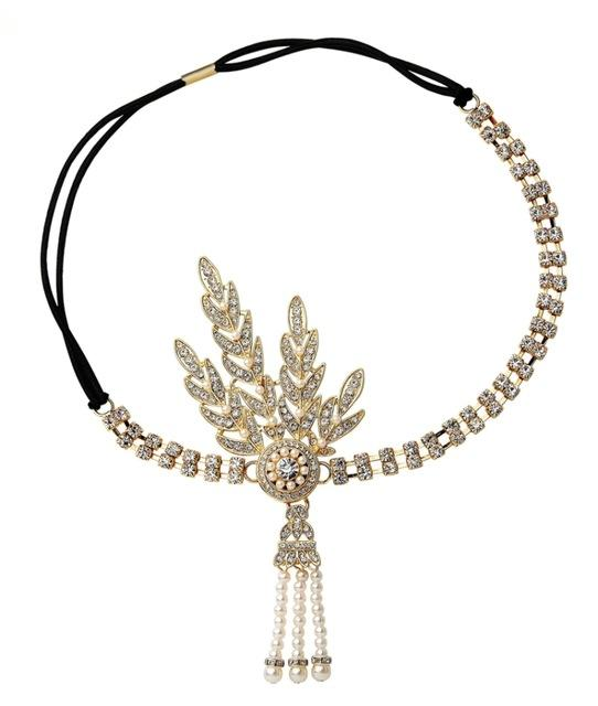 Art Deco 1920s Vintage Bridal Headpiece Costume Hair Accessories Flapper Great Gatsby Inspired Leaf Medallion Pearl Headband-ACCESSORIES-SheSimplyShops