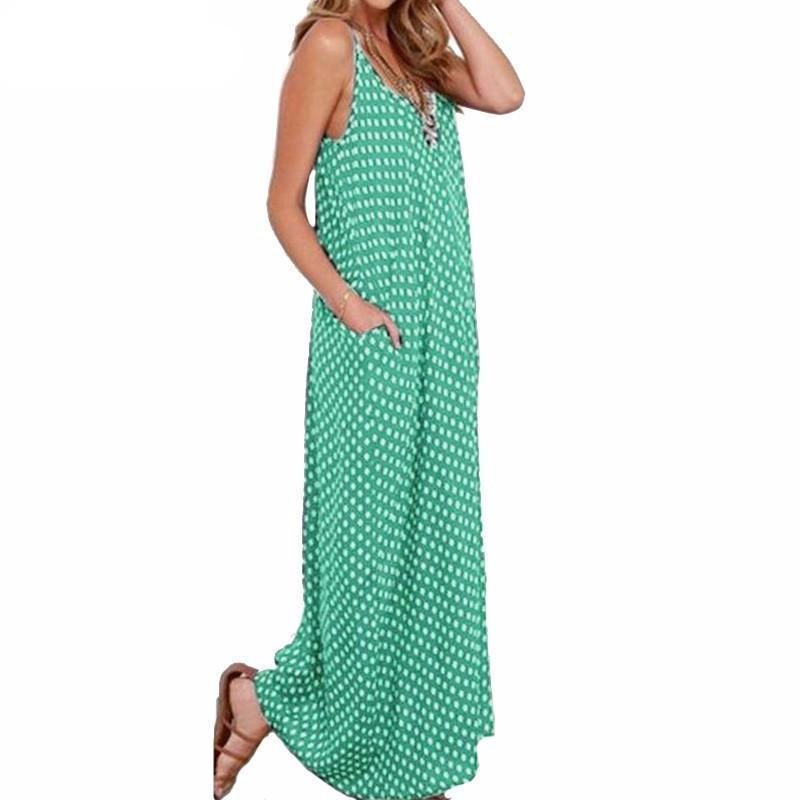 Vintage Strapless Polka Dot Loose Beach Long Maxi Dress-Dress-SheSimplyShops