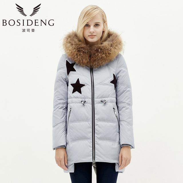winter jacket women's clothing duck down coat big natural fur collar luxury hooded star long coat-Coats & Jackets-SheSimplyShops