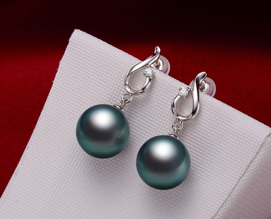 Black Tahitian Pearl & White Gold Diamond Earrings High Quality Jewelry-EARRINGS-SheSimplyShops