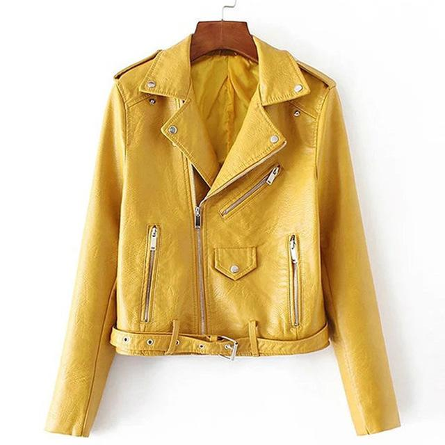Autumn Casual Street Women's Short Washed PU Leather Jacket Zipper Bright Colors Ladies Basic Jackets Slim Fit Women Coats-Coats & Jackets-SheSimplyShops