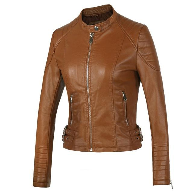 Fashion Women Elegant Zipper Faux Leather Biker Slim Jacket-Coats & Jackets-SheSimplyShops