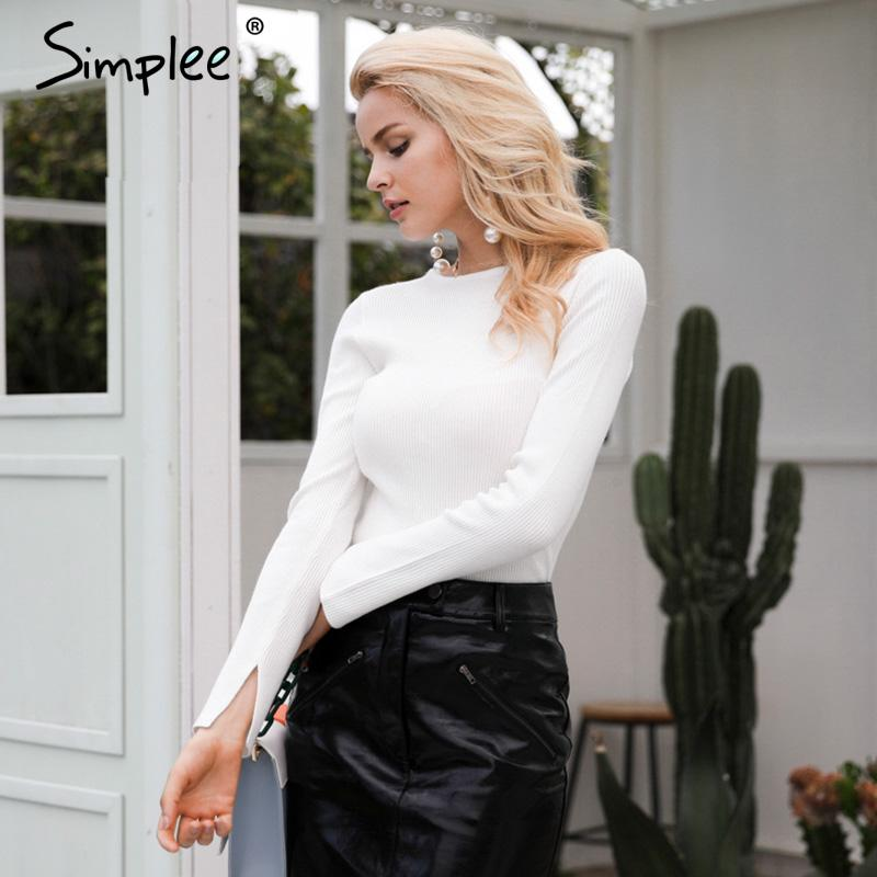 White knitted pullover sweater women Sexy elastic long sleeve knitting pullover Casual autumn winter jumper pullover-SWEATERS + CARDIGANS-SheSimplyShops