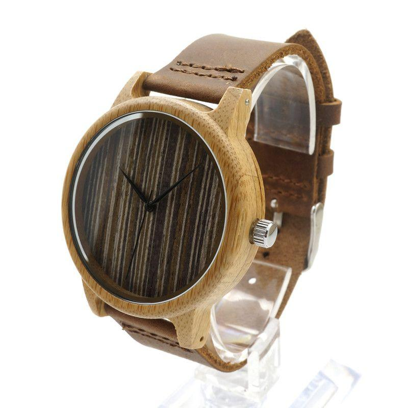 Brand New Brown Luxury Fashion Leather Mens Quartz Analog Wooden Watch Casual Male Business Watches Top Quality-Tops-SheSimplyShops