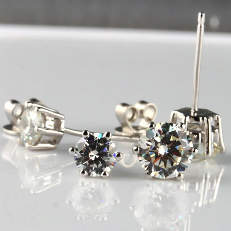 Fashion Noble Jewelry Crystal Rhinestone Silver Plated Stud Earrings Piercing Ear Studs For Weddings Party-EARRINGS-SheSimplyShops