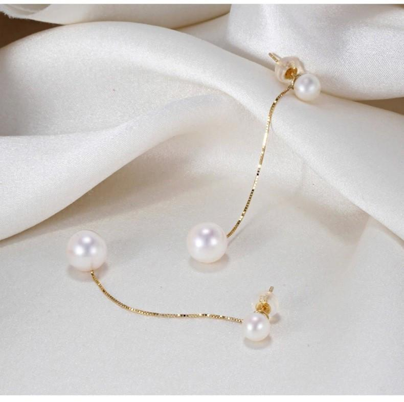 Sexy Long Pearl Earrings 18k Gold & AAA AKOYA Sea Pearl Gift For Women Style-EARRINGS-SheSimplyShops