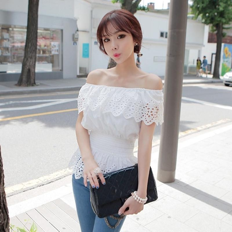 Summer Women Sexy Slash Neck Casual Blouse Top Strap Off Shoulder Lace Ruffles Elastic Waist Tunic Shirts Blusas Femininas-Blouse-SheSimplyShops