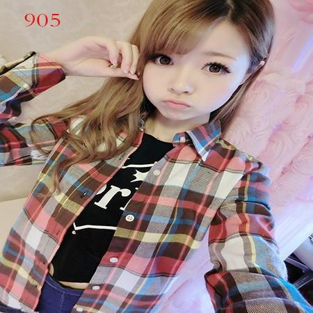 New Autumn Fashion Plus Size Ladies Long Sleeve Casual Cotton Slim Plaid Shirt Women Tops Blouse Clothing Outerwear-Blouse-SheSimplyShops