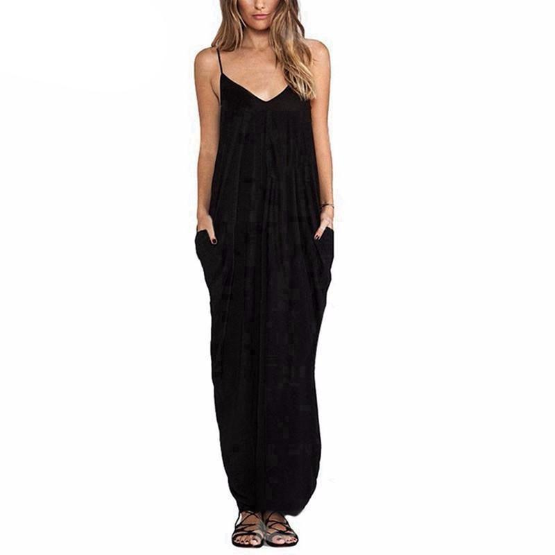 Sexy V Neck Sleeveless Loose Long Maxi Dress-Dress-SheSimplyShops