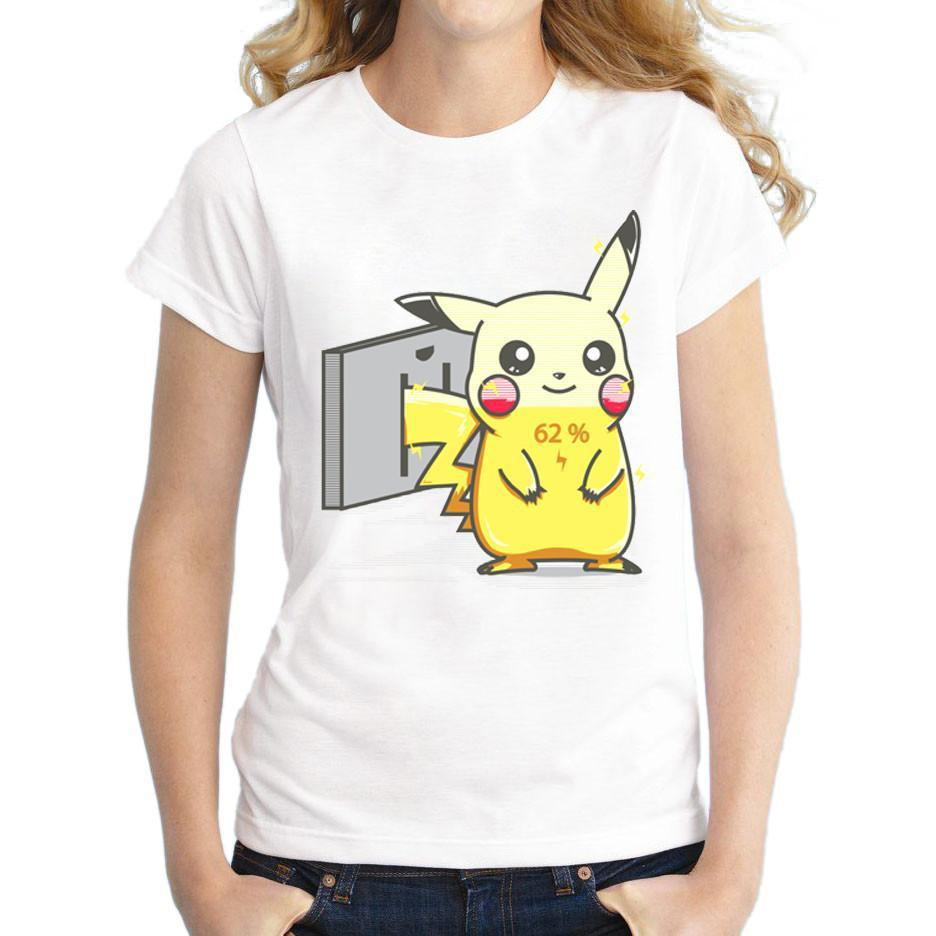 New Fashion Pokemon Go Women T Shirt Pikachu Charge Funny Cool T-shirt Short Sleeve Comics Printed Tshirt-SHIRTS-SheSimplyShops