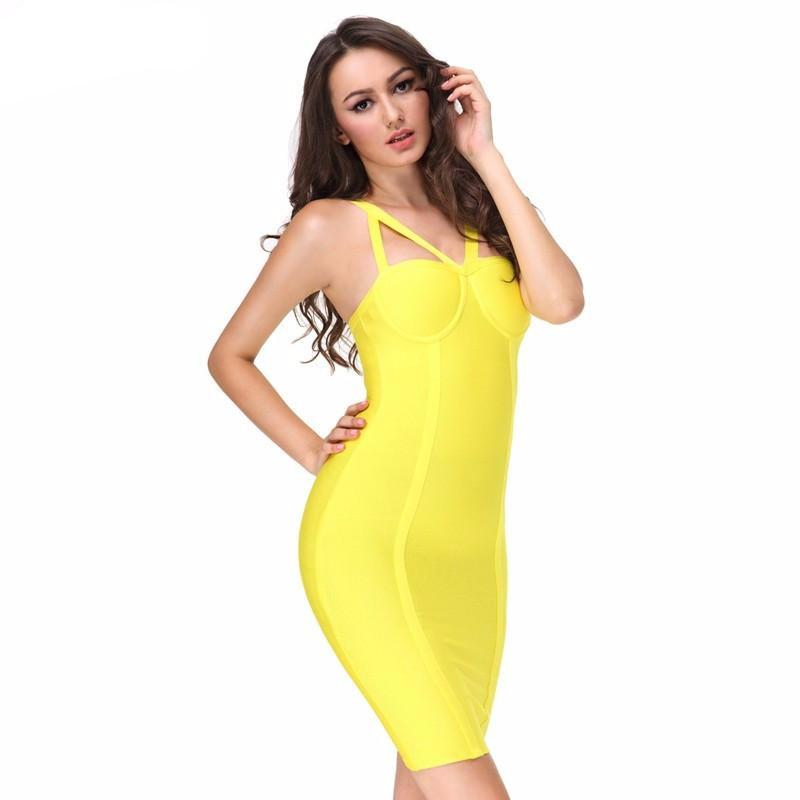sexy yellow strap evening party bodycon bondage Dresses