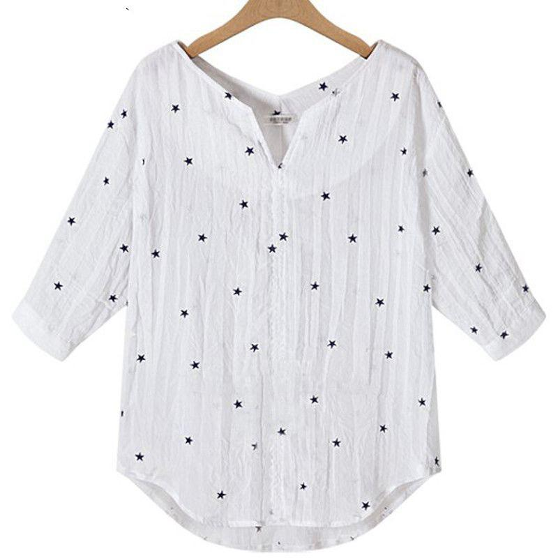 Casual Star Printed V-Neck 3/4 Sleeve Tops-Tops-SheSimplyShops