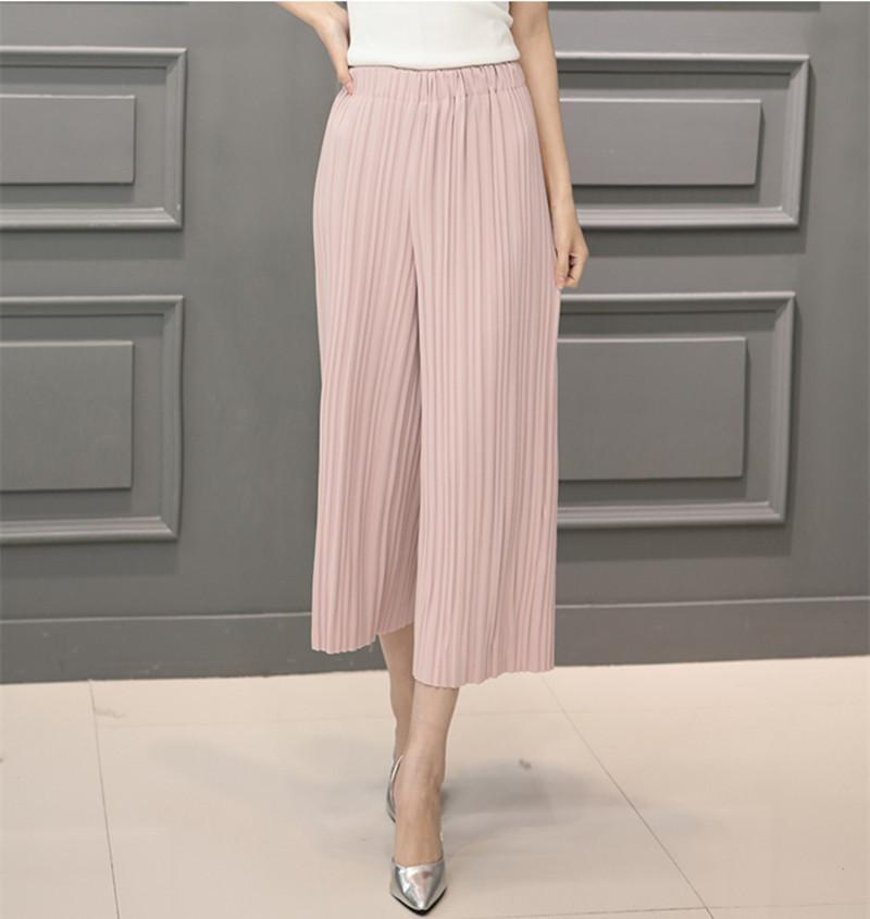5 Colors Women Trousers Fashion Chiffon Pants Loose Casual Style Solid Color High Waist Pants Wide Leg Pants-PANTS-SheSimplyShops