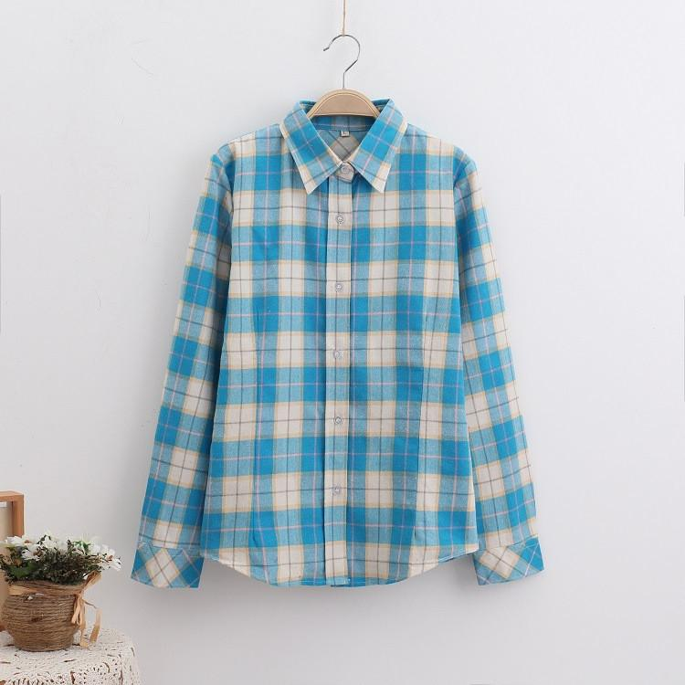 Fashion Plaid Shirt Female College style women's Blouses Long Sleeve Flannel Shirt Plus Size Cotton Blusas Office tops-Blouse-SheSimplyShops