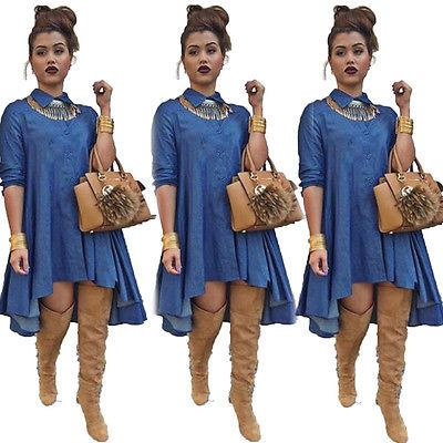 Sexy Loose Long Sleeve Denim Shirt Dress-Dress-SheSimplyShops