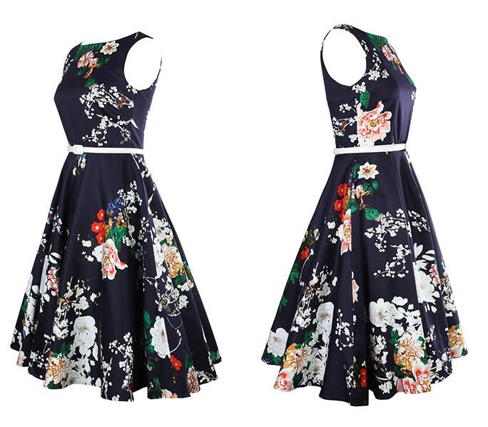 Floral Sleeveless Swing Dress with Belt-Dress-SheSimplyShops