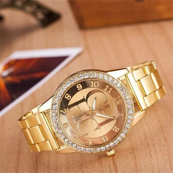 Arab numbers Europe and USA fashion style CH HC Letter birthday gift Golden rhinestone female quatz Wristwatches-BRACELETS-SheSimplyShops